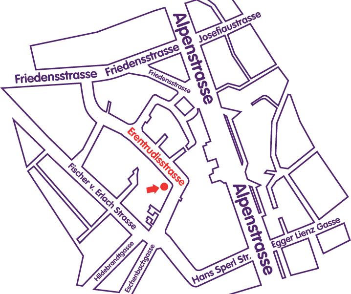 Karte Anfahrt Ehrentrudisstraße Salzburg(Stadt)